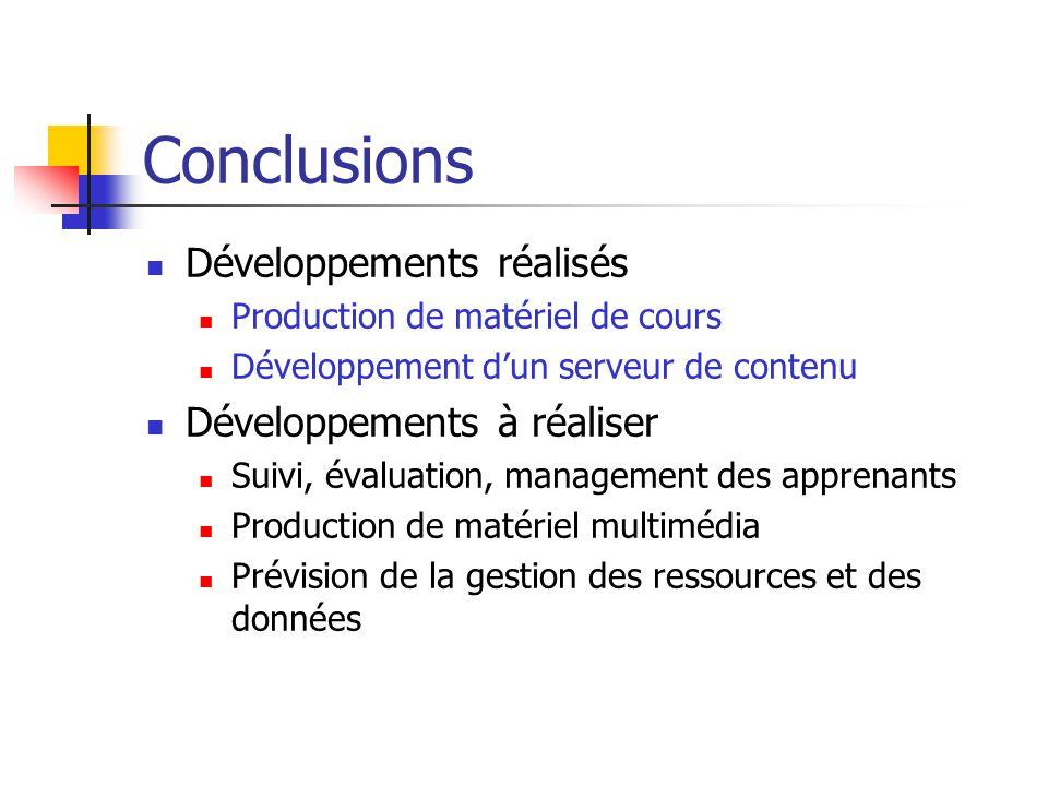 Conclusions Développements réalisés Production de matériel de cours Développement dun serveur de contenu Développements à réaliser Suivi, évaluation,