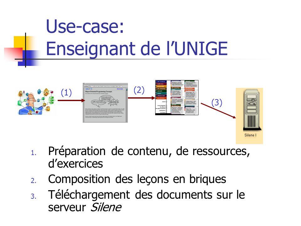 Use-case: Enseignant de lUNIGE 1. Préparation de contenu, de ressources, dexercices 2. Composition des leçons en briques 3. Téléchargement des documen