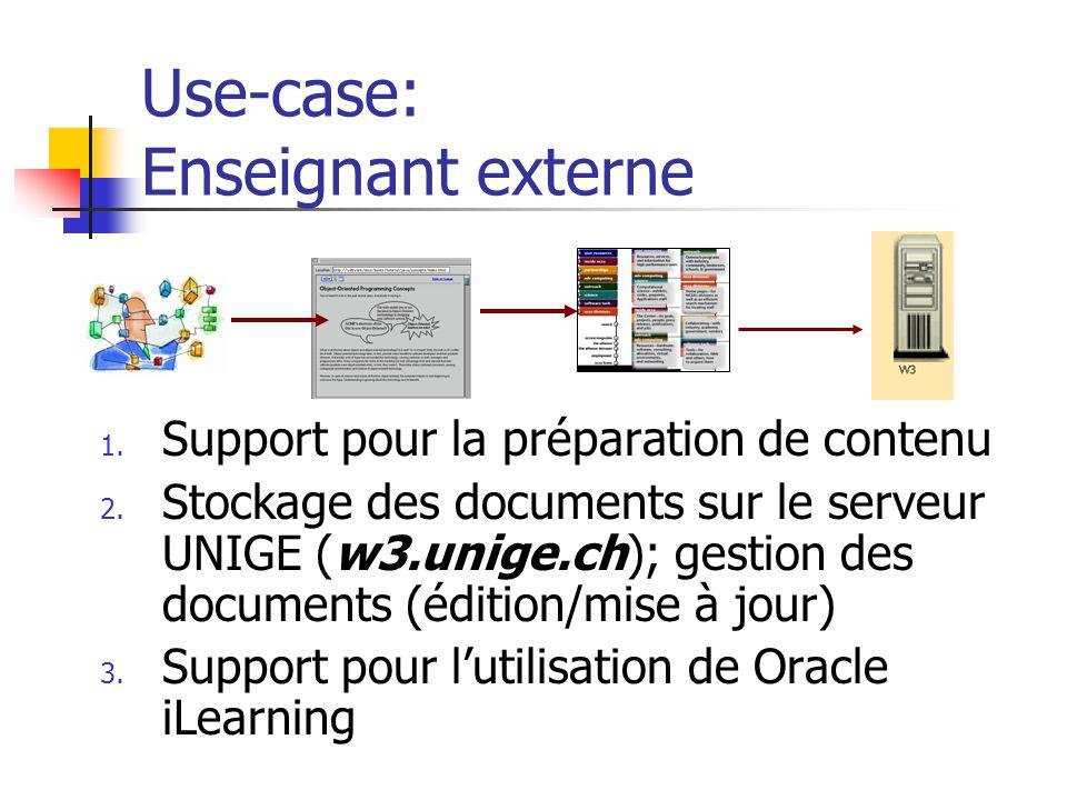 Use-case: Enseignant externe 1. Support pour la préparation de contenu 2. Stockage des documents sur le serveur UNIGE (w3.unige.ch); gestion des docum