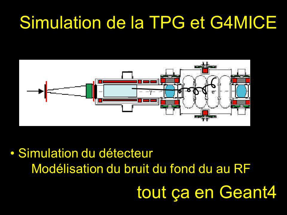 Simulation de la TPG et G4MICE Simulation du détecteur Modélisation du bruit du fond du au RF tout ça en Geant4