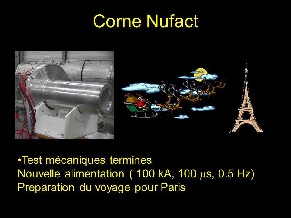 Corne Nufact Test mécaniques termines Nouvelle alimentation ( 100 kA, 100 s, 0.5 Hz) Preparation du voyage pour Paris