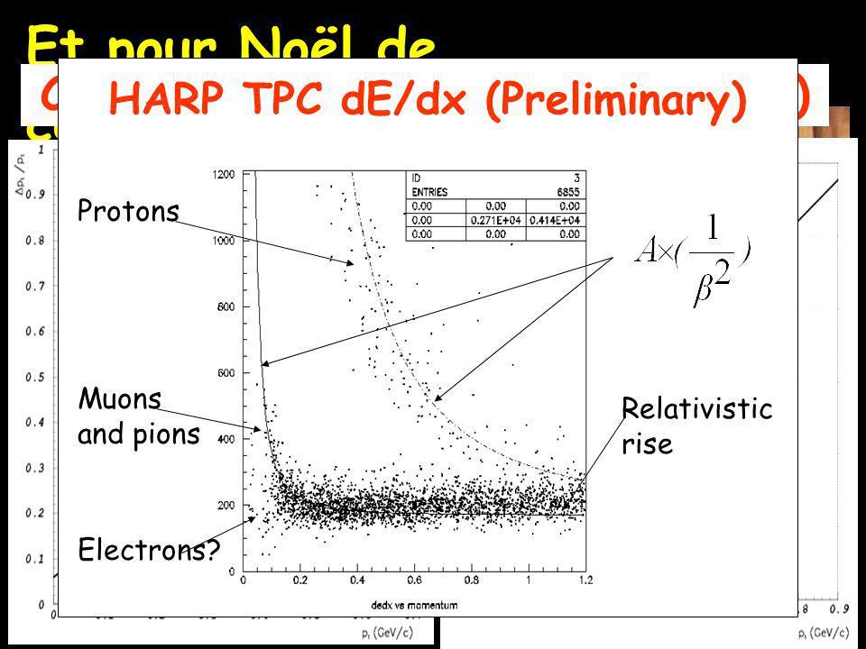 Et pour Noël de cett année Comparison of p t /p t (Preliminary) HARP TPC dE/dx (Preliminary) Protons Muons and pions Electrons.