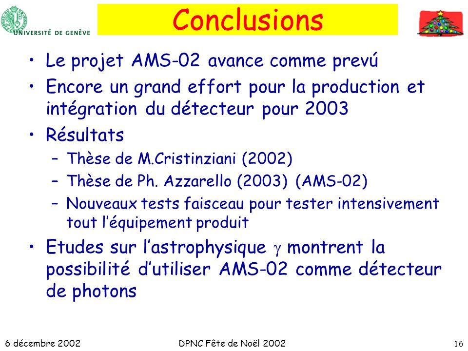 6 décembre 2002DPNC Fête de Noël 200216 Conclusions Le projet AMS-02 avance comme prevú Encore un grand effort pour la production et intégration du dé