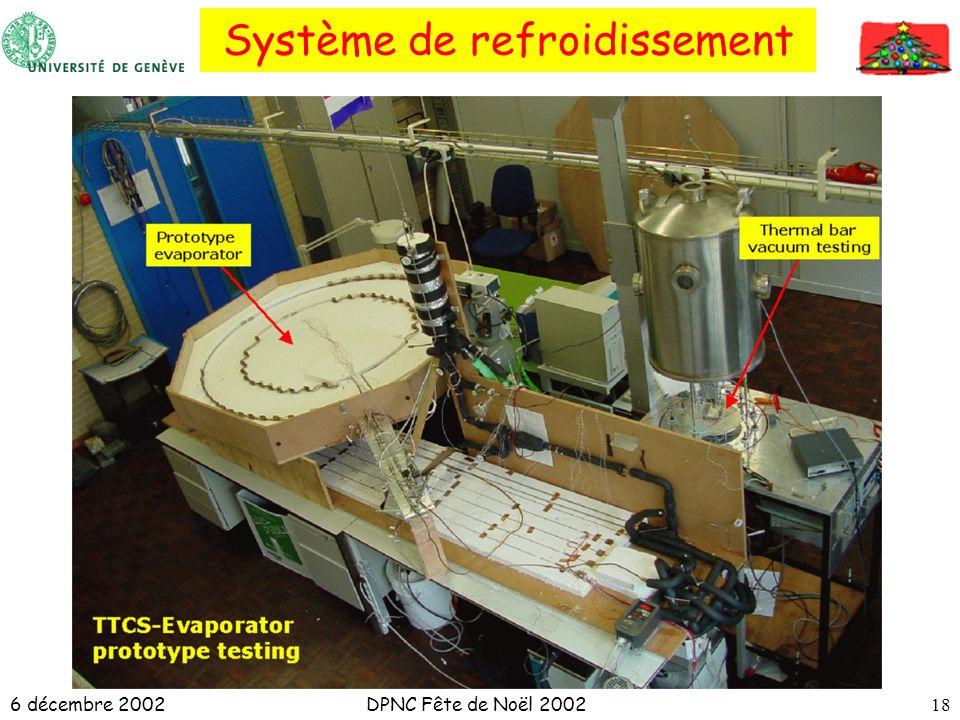 6 décembre 2002DPNC Fête de Noël 200218 Système de refroidissement