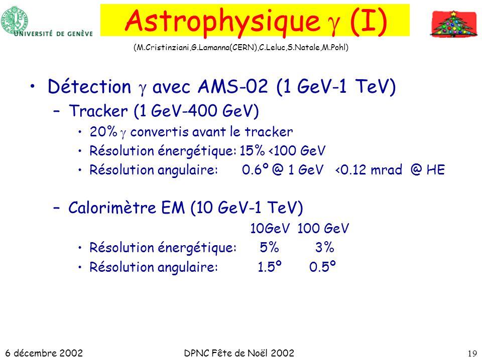6 décembre 2002DPNC Fête de Noël 200219 Astrophysique (I) Détection avec AMS-02 (1 GeV-1 TeV) –Tracker (1 GeV-400 GeV) 20% convertis avant le tracker