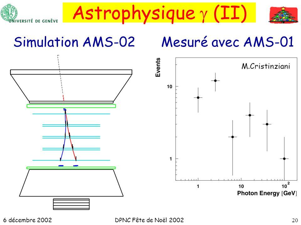 6 décembre 2002DPNC Fête de Noël 200220 Astrophysique (II) M.Cristinziani Simulation AMS-02Mesuré avec AMS-01