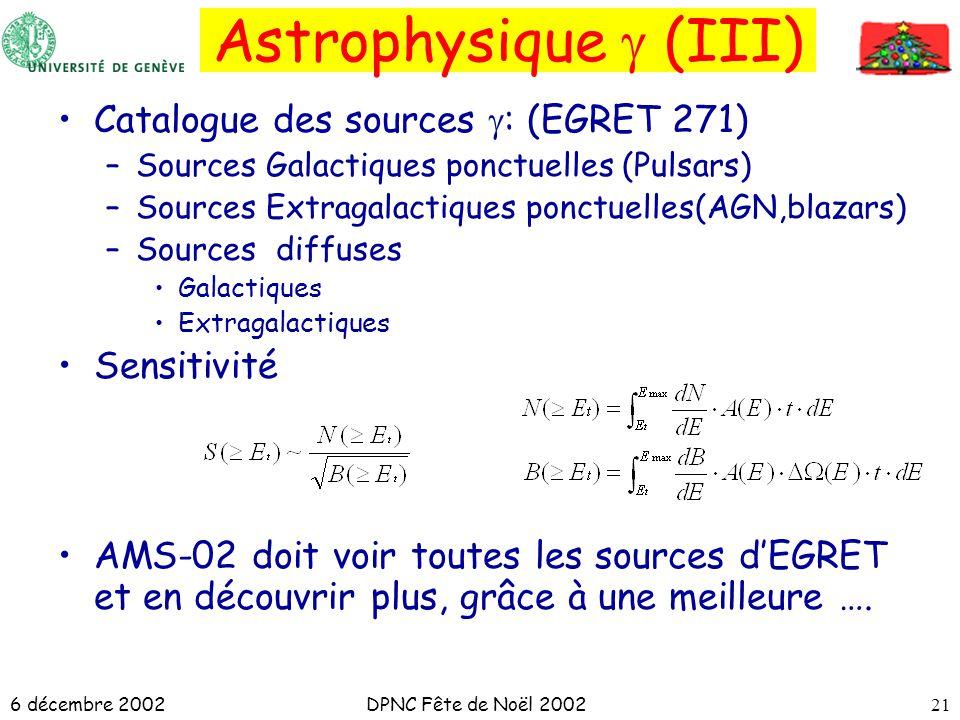 6 décembre 2002DPNC Fête de Noël 200221 Catalogue des sources : (EGRET 271) –Sources Galactiques ponctuelles (Pulsars) –Sources Extragalactiques ponct