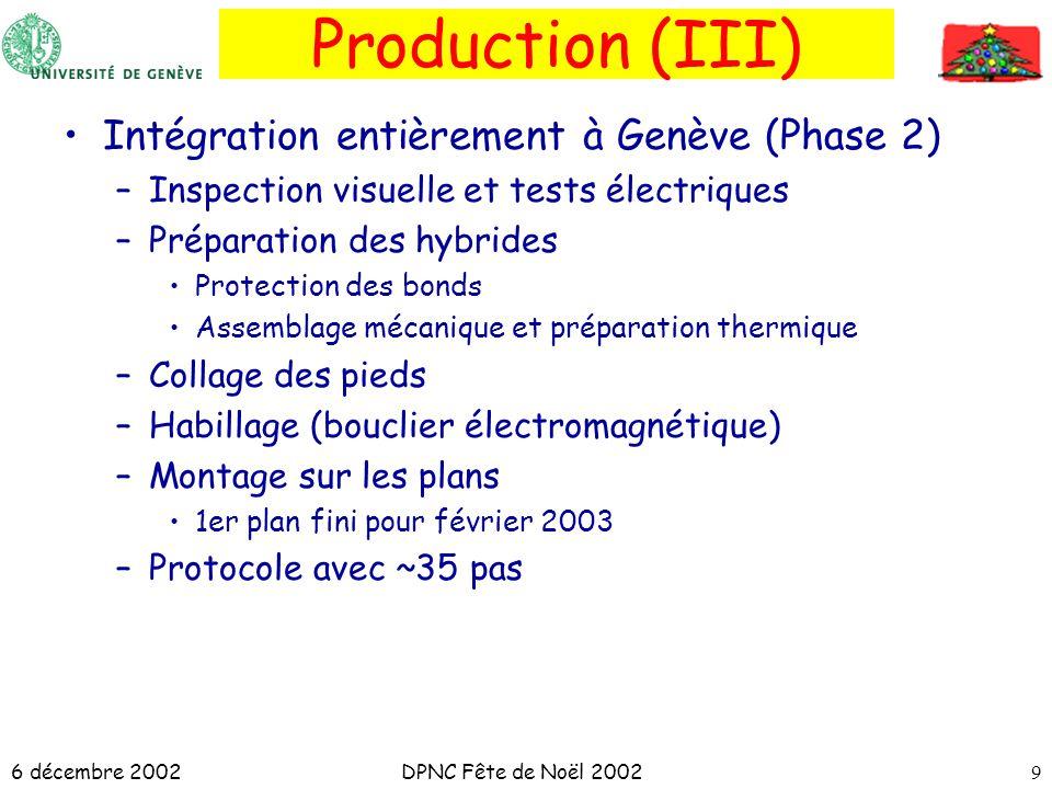 6 décembre 2002DPNC Fête de Noël 20029 Production (III) Intégration entièrement à Genève (Phase 2) –Inspection visuelle et tests électriques –Préparat