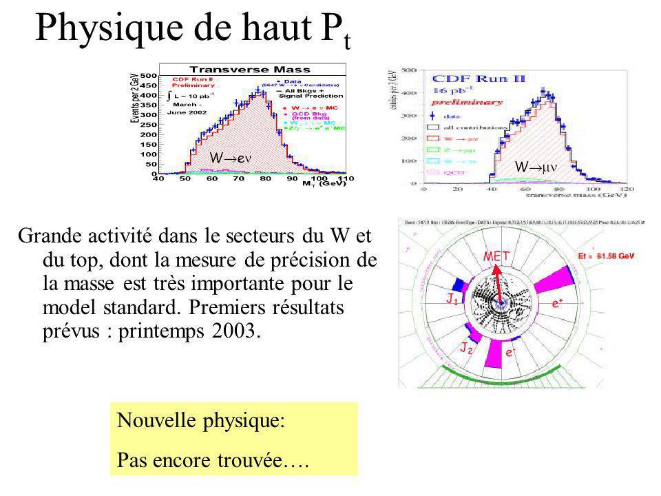 Physique de haut P t Grande activité dans le secteurs du W et du top, dont la mesure de précision de la masse est très importante pour le model standard.