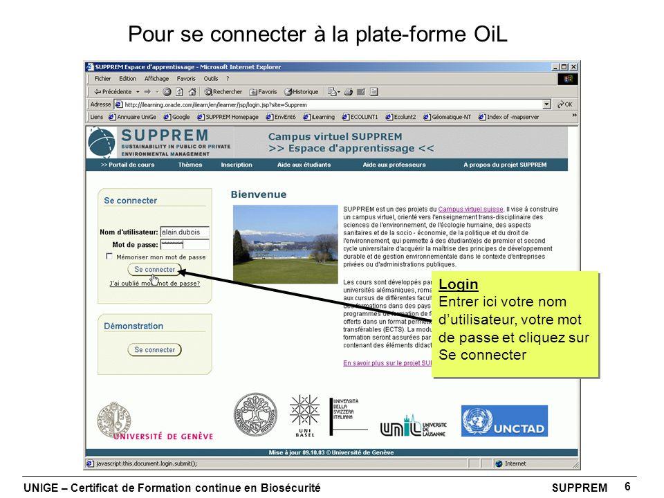 UNIGE – Certificat de Formation continue en Biosécurité SUPPREM 6 Pour se connecter à la plate-forme OiL Login Entrer ici votre nom dutilisateur, votr