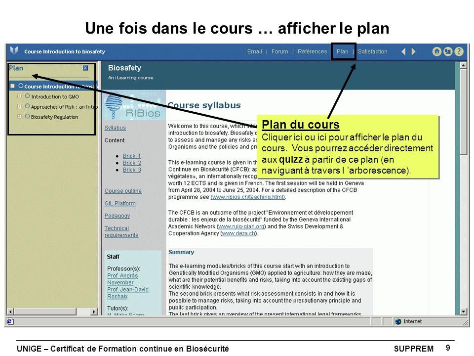 UNIGE – Certificat de Formation continue en Biosécurité SUPPREM 9 Une fois dans le cours … afficher le plan Plan du cours Cliquer ici ou ici pour affi