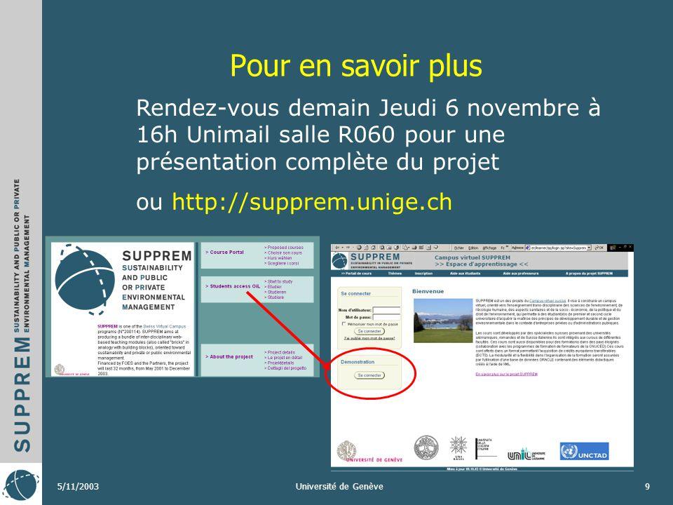 5/11/2003Université de Genève8