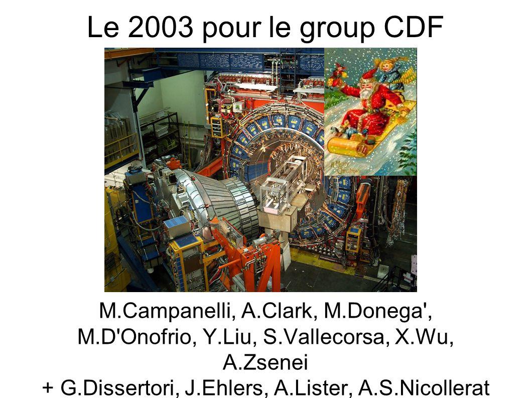 Le 2003 pour le group CDF M.Campanelli, A.Clark, M.Donega , M.D Onofrio, Y.Liu, S.Vallecorsa, X.Wu, A.Zsenei + G.Dissertori, J.Ehlers, A.Lister, A.S.Nicollerat