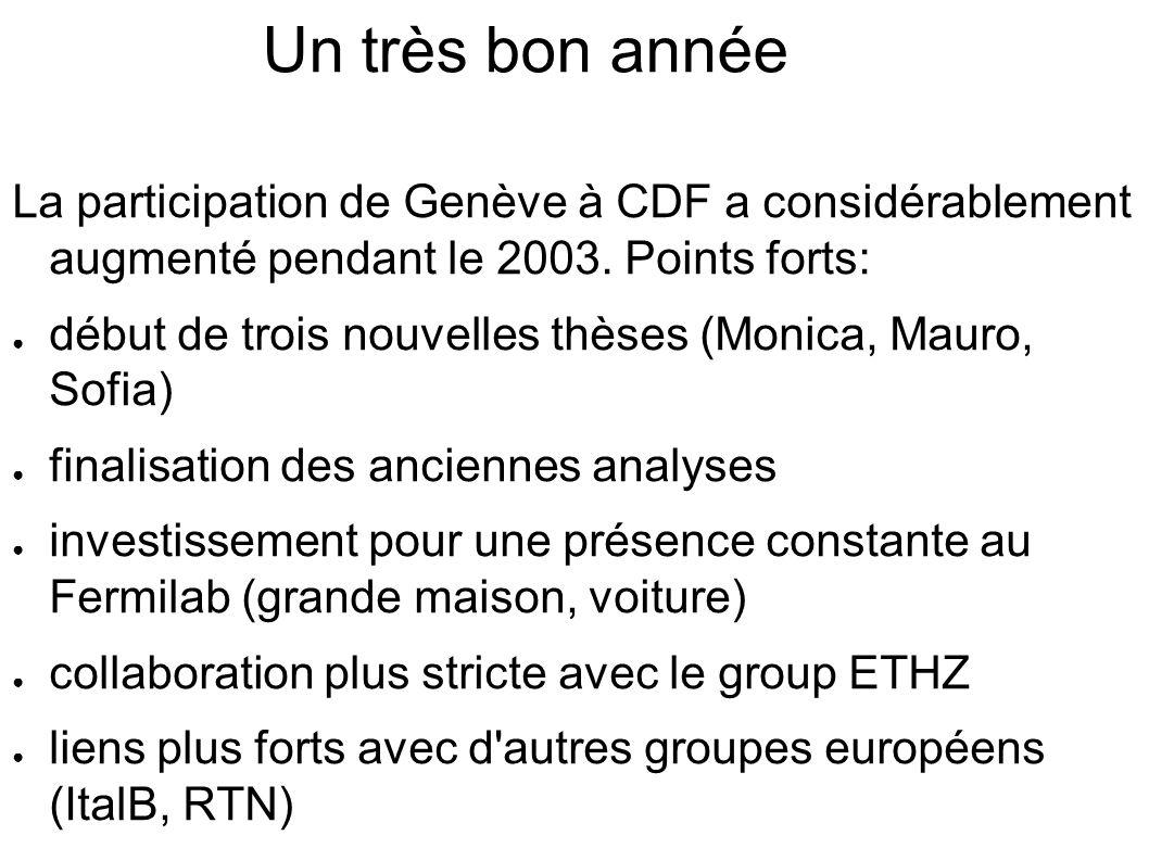 Un très bon année La participation de Genève à CDF a considérablement augmenté pendant le 2003.