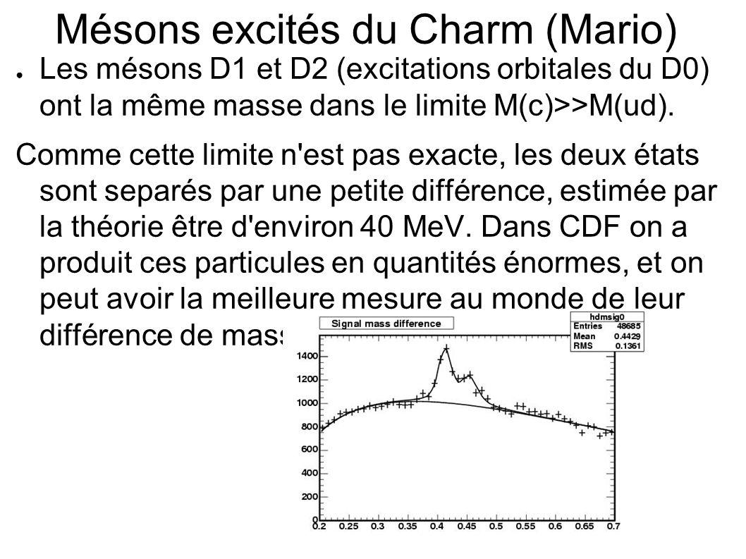 Mésons excités du Charm (Mario) Les mésons D1 et D2 (excitations orbitales du D0) ont la même masse dans le limite M(c)>>M(ud).