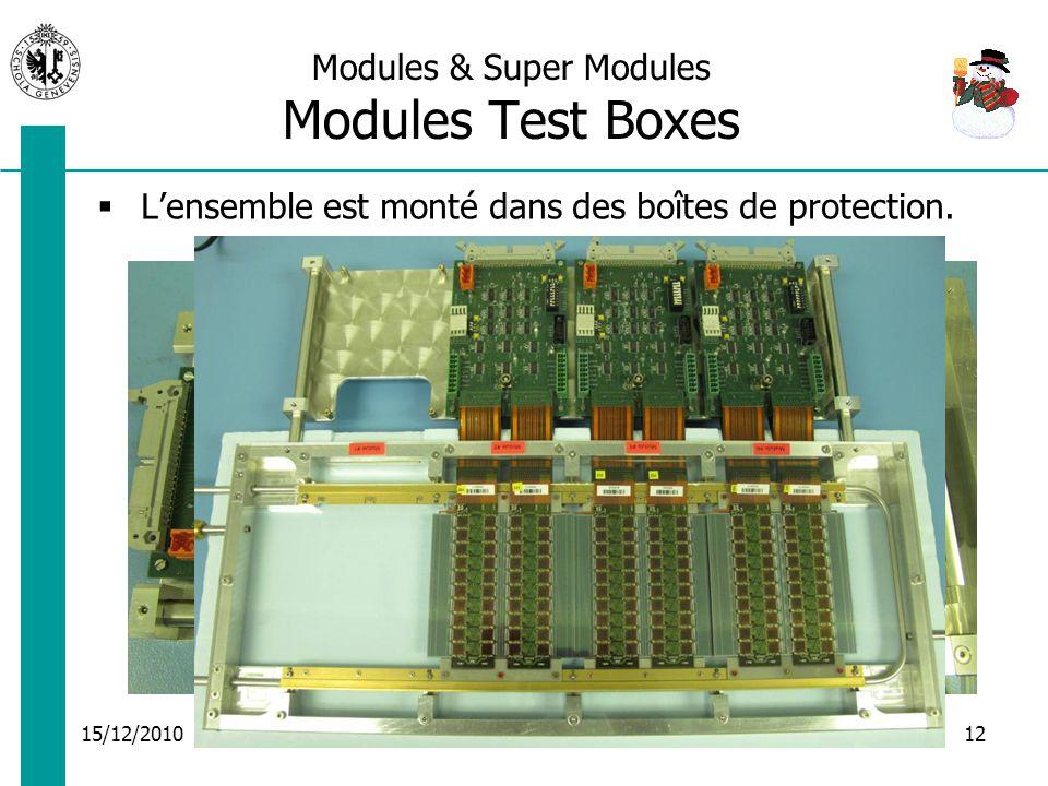 15/12/2010 Activités du groupe électronique12 Modules & Super Modules Modules Test Boxes Lensemble est monté dans des boîtes de protection.