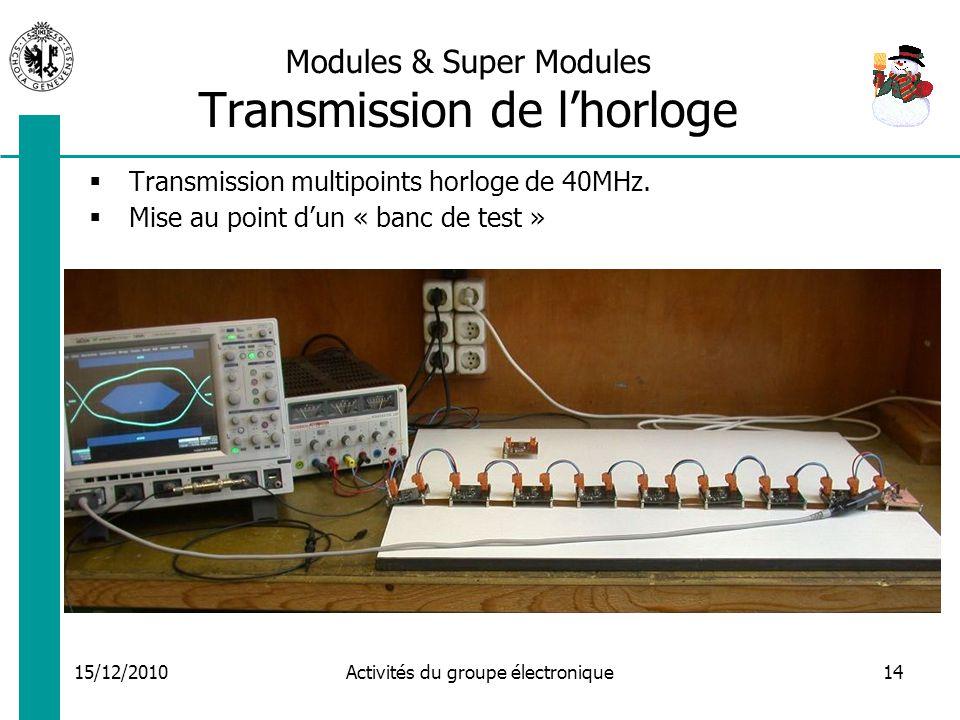 15/12/2010 Activités du groupe électronique14 Modules & Super Modules Transmission de lhorloge Transmission multipoints horloge de 40MHz.