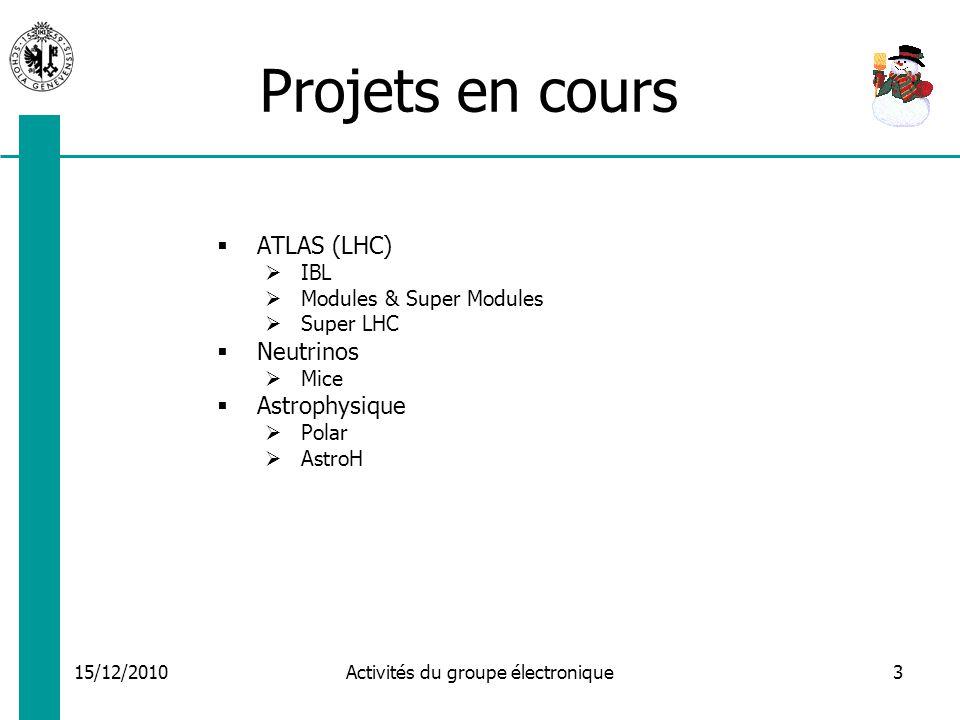15/12/2010 Activités du groupe électronique3 Projets en cours ATLAS (LHC) IBL Modules & Super Modules Super LHC Neutrinos Mice Astrophysique Polar AstroH