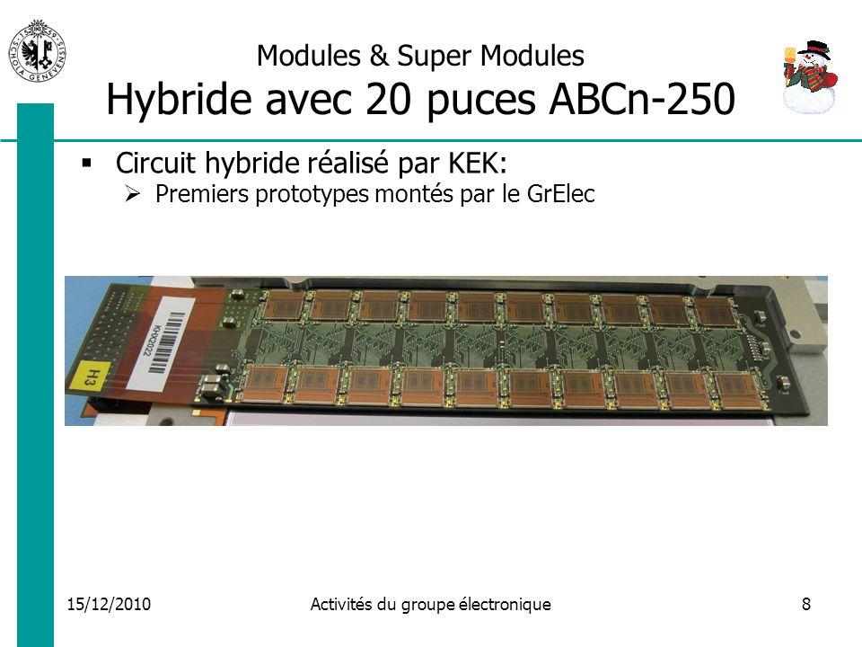 15/12/2010 Activités du groupe électronique8 Modules & Super Modules Hybride avec 20 puces ABCn-250 Circuit hybride réalisé par KEK: Premiers prototypes montés par le GrElec