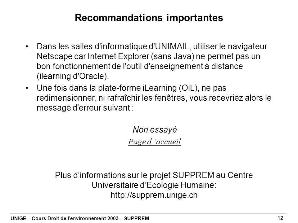 UNIGE – Cours Droit de lenvironnement 2003 – SUPPREM 12 Recommandations importantes Dans les salles d informatique d UNIMAIL, utiliser le navigateur Netscape car Internet Explorer (sans Java) ne permet pas un bon fonctionnement de l outil d enseignement à distance (ilearning d Oracle).