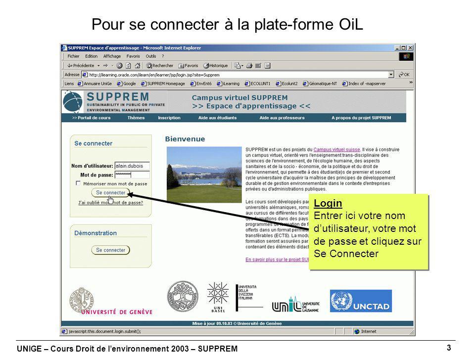 UNIGE – Cours Droit de lenvironnement 2003 – SUPPREM 3 Pour se connecter à la plate-forme OiL Login Entrer ici votre nom dutilisateur, votre mot de passe et cliquez sur Se Connecter Login Entrer ici votre nom dutilisateur, votre mot de passe et cliquez sur Se Connecter