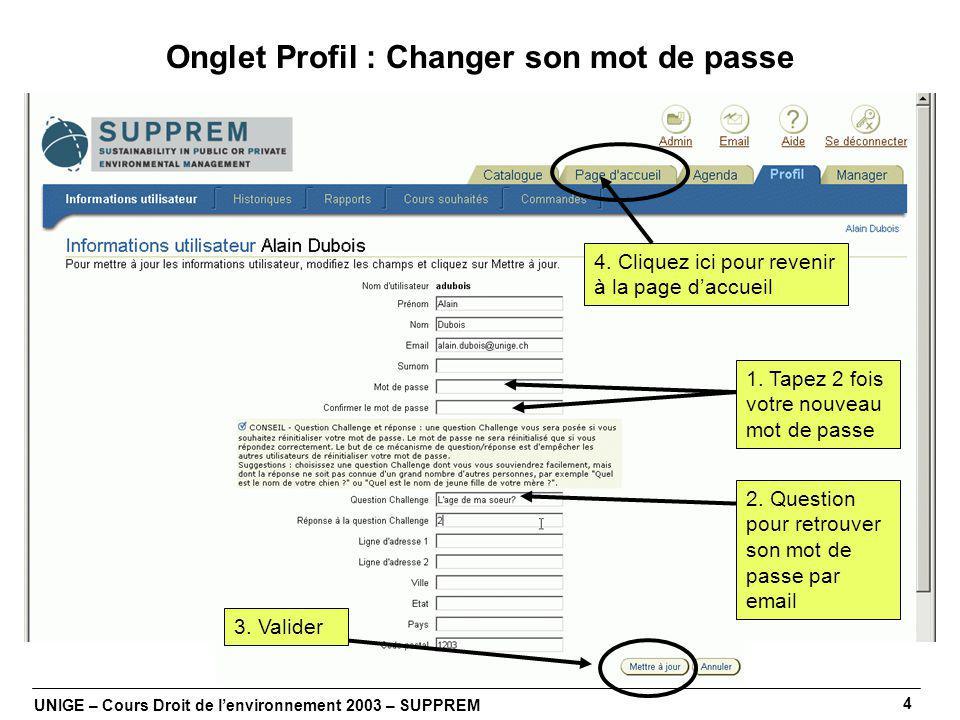 UNIGE – Cours Droit de lenvironnement 2003 – SUPPREM 4 Onglet Profil : Changer son mot de passe 1.