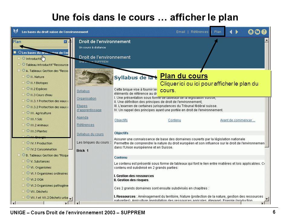 UNIGE – Cours Droit de lenvironnement 2003 – SUPPREM 6 Une fois dans le cours … afficher le plan Plan du cours Cliquer ici ou ici pour afficher le plan du cours.