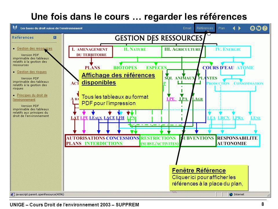 UNIGE – Cours Droit de lenvironnement 2003 – SUPPREM 8 Une fois dans le cours … regarder les références Fenêtre Référence Cliquer ici pour afficher les références à la place du plan,...