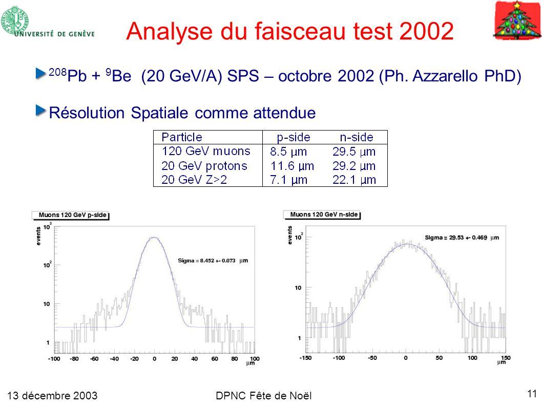 13 décembre 2003 11 DPNC Fête de Noël 208 Pb + 9 Be (20 GeV/A) SPS – octobre 2002 (Ph.