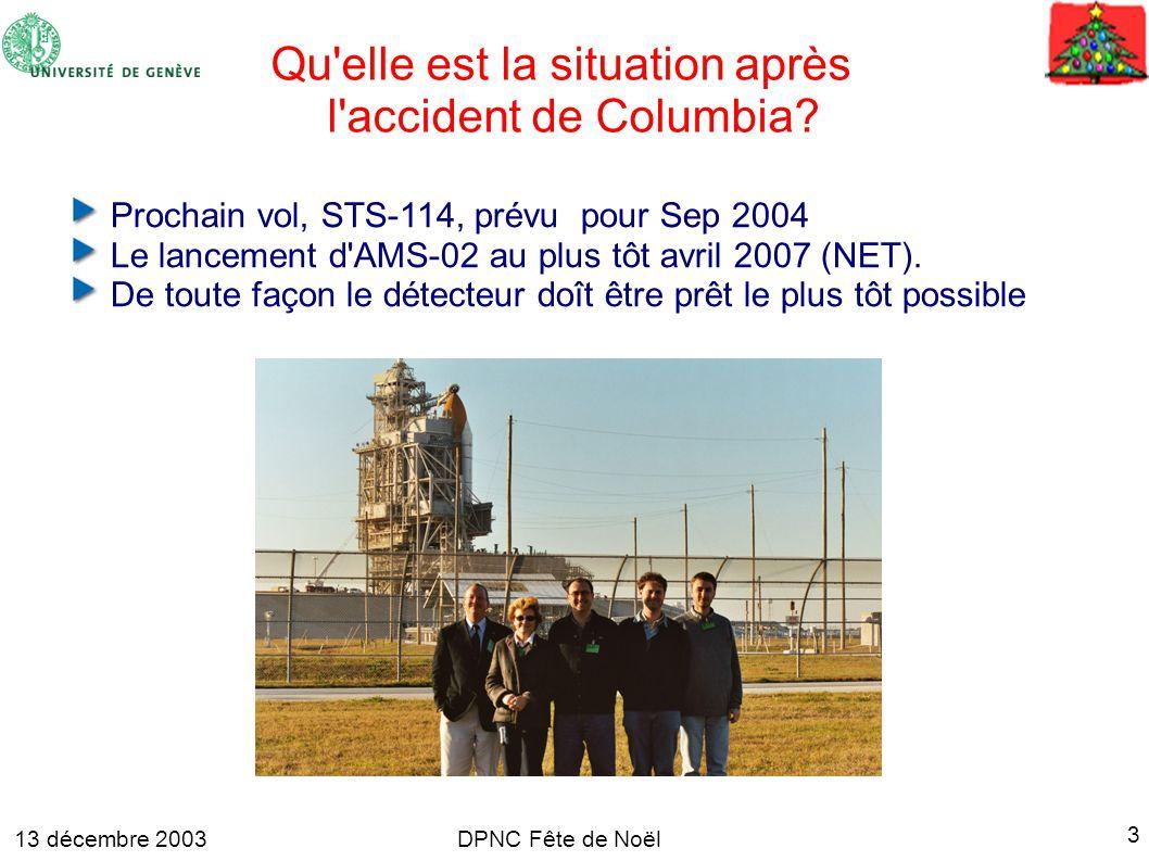 13 décembre 2003 3 DPNC Fête de Noël Qu elle est la situation après l accident de Columbia.