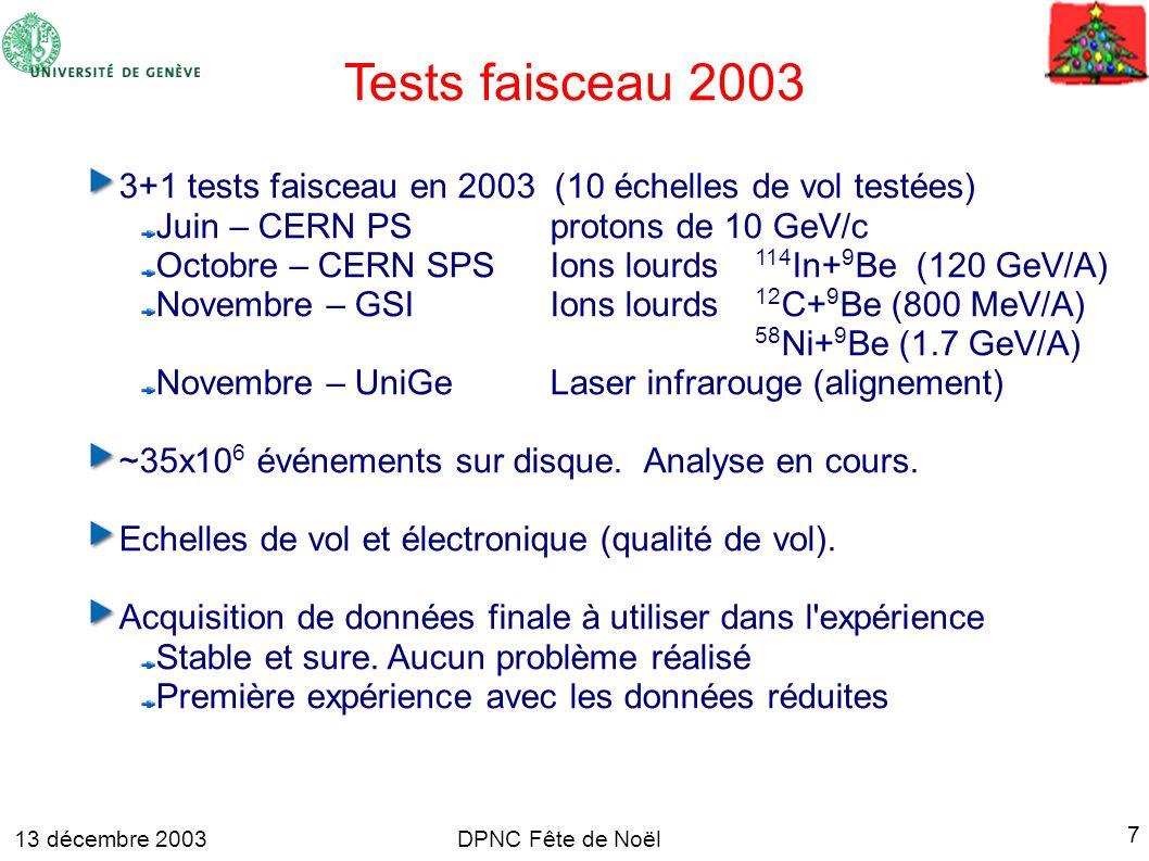 13 décembre 2003 7 DPNC Fête de Noël Tests faisceau 2003 3+1 tests faisceau en 2003 (10 échelles de vol testées) Juin – CERN PS protons de 10 GeV/c Octobre – CERN SPS Ions lourds 114 In+ 9 Be (120 GeV/A) Novembre – GSIIons lourds 12 C+ 9 Be (800 MeV/A) 58 Ni+ 9 Be (1.7 GeV/A) Novembre – UniGeLaser infrarouge (alignement) ~35x10 6 événements sur disque.