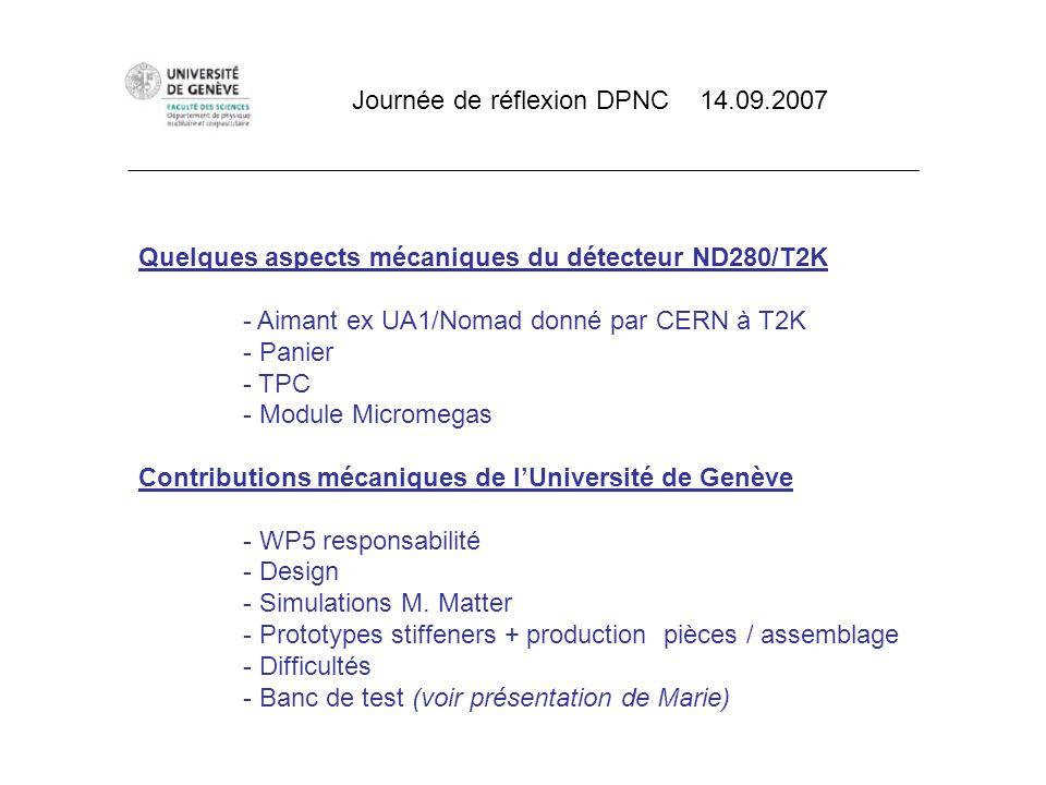 Quelques aspects mécaniques du détecteur ND280/T2K - Aimant ex UA1/Nomad donné par CERN à T2K - Panier - TPC - Module Micromegas Contributions mécaniq