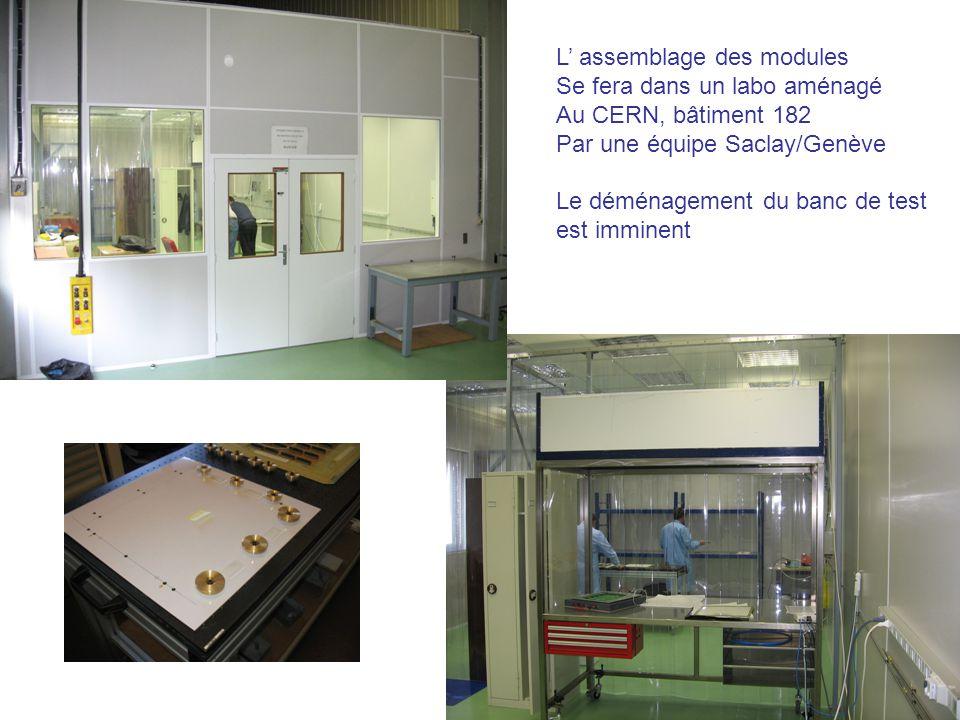 L assemblage des modules Se fera dans un labo aménagé Au CERN, bâtiment 182 Par une équipe Saclay/Genève Le déménagement du banc de test est imminent