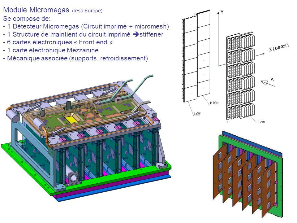 Module Micromegas (resp Europe) Se compose de: - 1 Détecteur Micromegas (Circuit imprimé + micromesh) - 1 Structure de maintient du circuit imprimé st