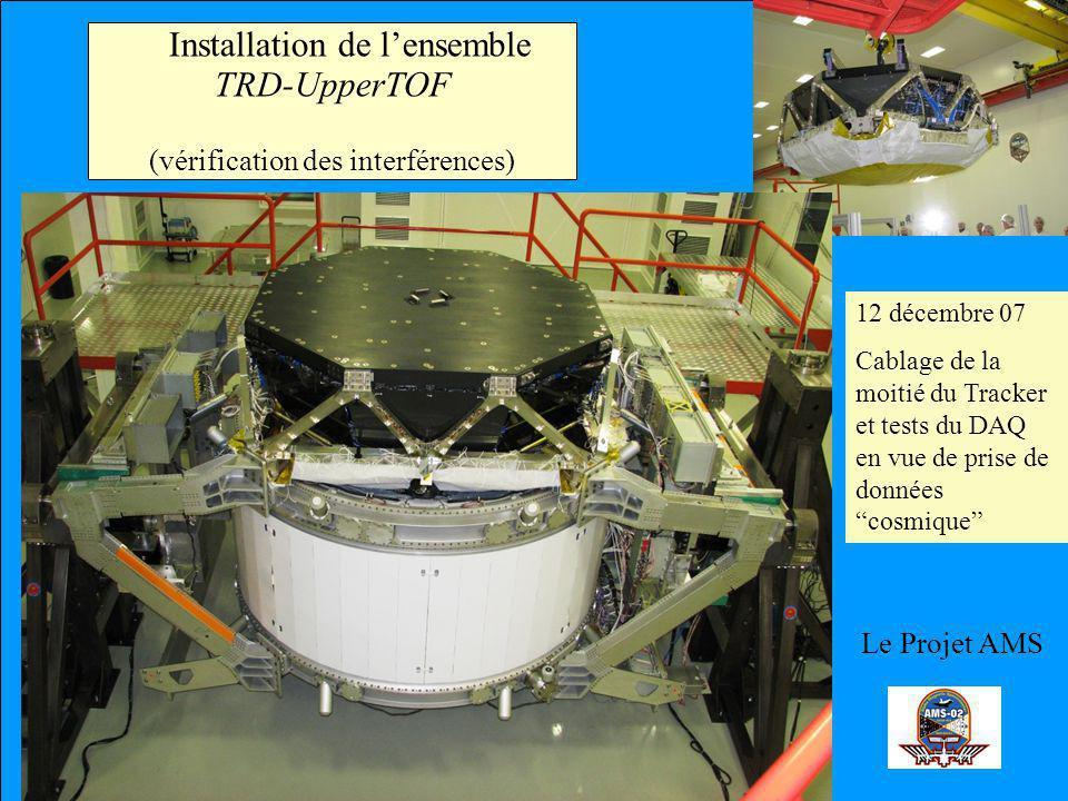 Le Projet AMS Installation de lensemble TRD-UpperTOF (vérification des interférences) 12 décembre 07 Cablage de la moitié du Tracker et tests du DAQ en vue de prise de données cosmique