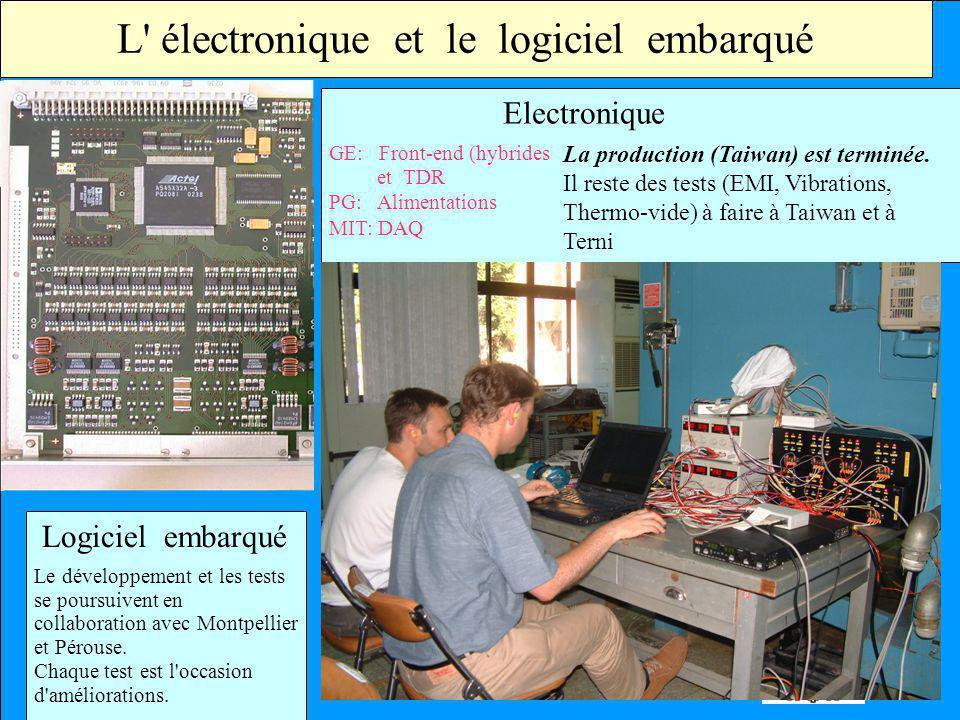 L' électronique et le logiciel embarqué GE: Front-end (hybrides et TDR PG: Alimentations MIT: DAQ La production (Taiwan) est terminée. Il reste des te