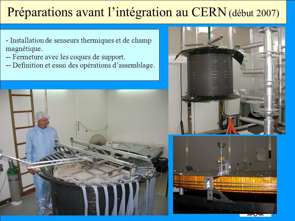 Préparations avant lintégration au CERN (début 2007) - Installation de senseurs thermiques et de champ magnétique. -- Fermeture avec les coques de sup