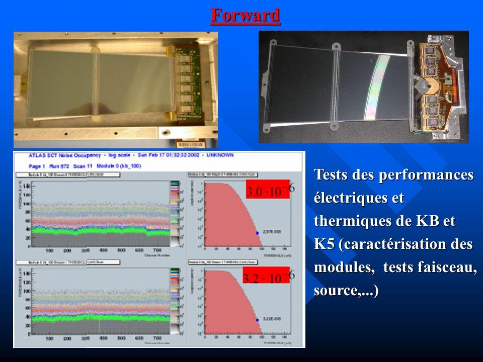 Tests des performances électriques et thermiques de KB et K5 (caractérisation des modules, tests faisceau, source,...) Forward