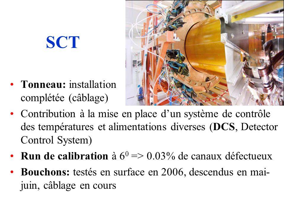 SCT Tonneau: installation complétée (câblage) Contribution à la mise en place dun système de contrôle des températures et alimentations diverses (DCS, Detector Control System) Run de calibration à 6 0 => 0.03% de canaux défectueux Bouchons: testés en surface en 2006, descendus en mai- juin, câblage en cours