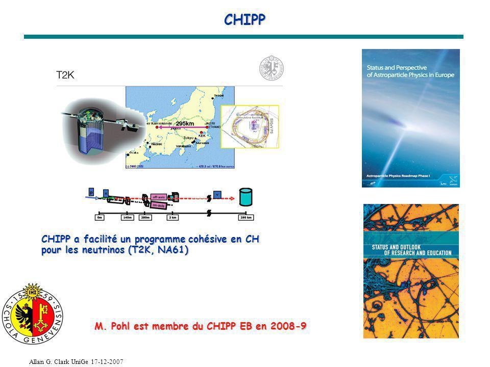 Allan G. Clark UniGe 17-12-2007 CHIPP CHIPP a facilité un programme cohésive en CH pour les neutrinos (T2K, NA61) M. Pohl est membre du CHIPP EB en 20