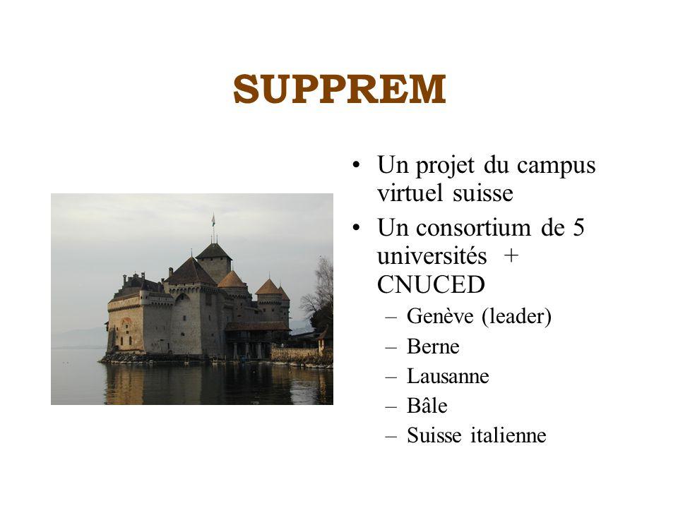 SUPPREM Un projet du campus virtuel suisse Un consortium de 5 universités + CNUCED –Genève (leader) –Berne –Lausanne –Bâle –Suisse italienne