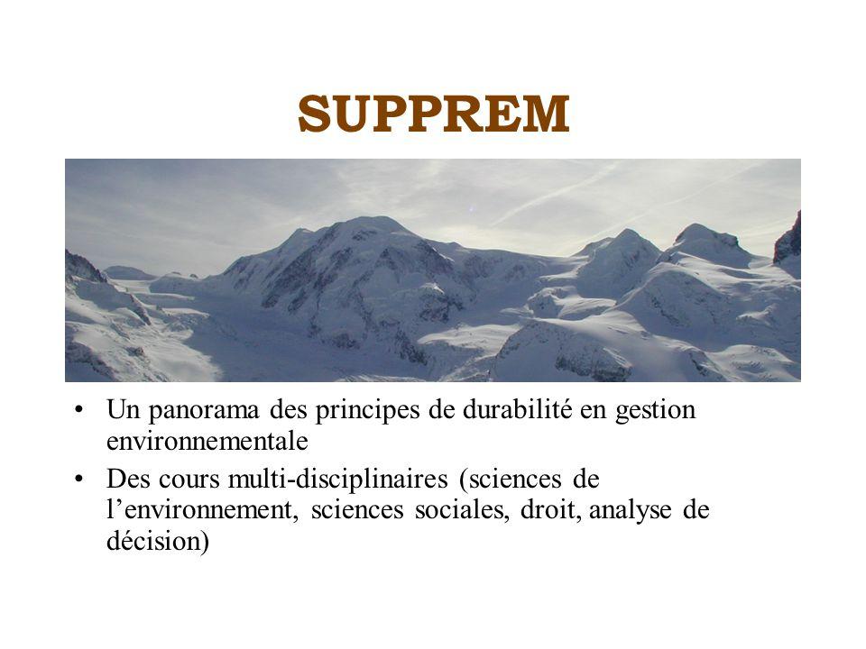 SUPPREM Un panorama des principes de durabilité en gestion environnementale Des cours multi-disciplinaires (sciences de lenvironnement, sciences sociales, droit, analyse de décision)