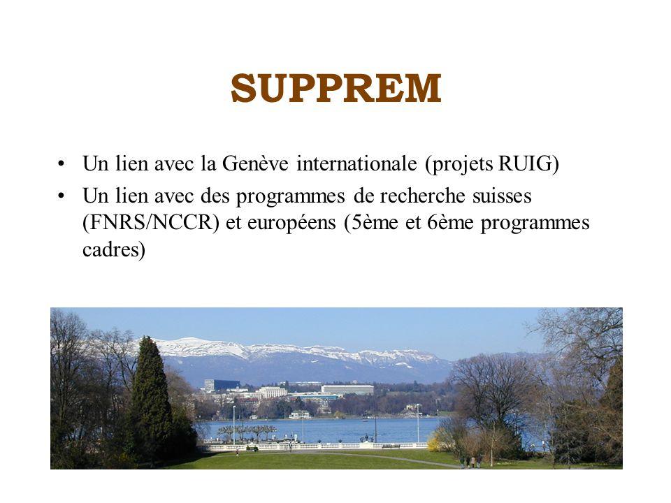 SUPPREM Un lien avec la Genève internationale (projets RUIG) Un lien avec des programmes de recherche suisses (FNRS/NCCR) et européens (5ème et 6ème programmes cadres)