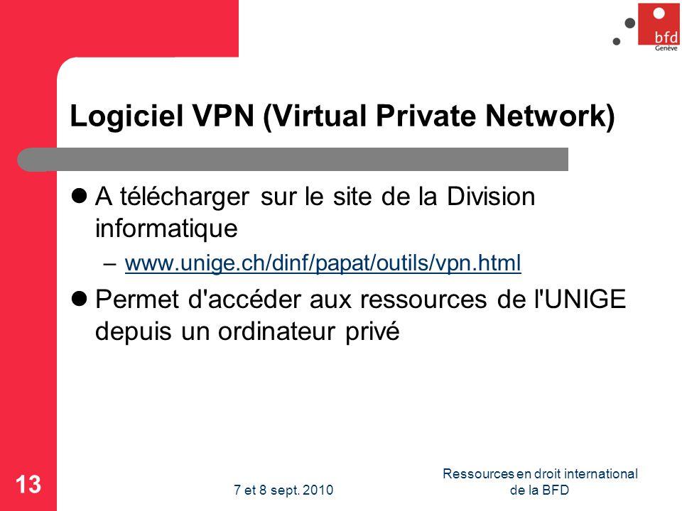Logiciel VPN (Virtual Private Network) A télécharger sur le site de la Division informatique –www.unige.ch/dinf/papat/outils/vpn.htmlwww.unige.ch/dinf/papat/outils/vpn.html Permet d accéder aux ressources de l UNIGE depuis un ordinateur privé 13 Ressources en droit international de la BFD7 et 8 sept.