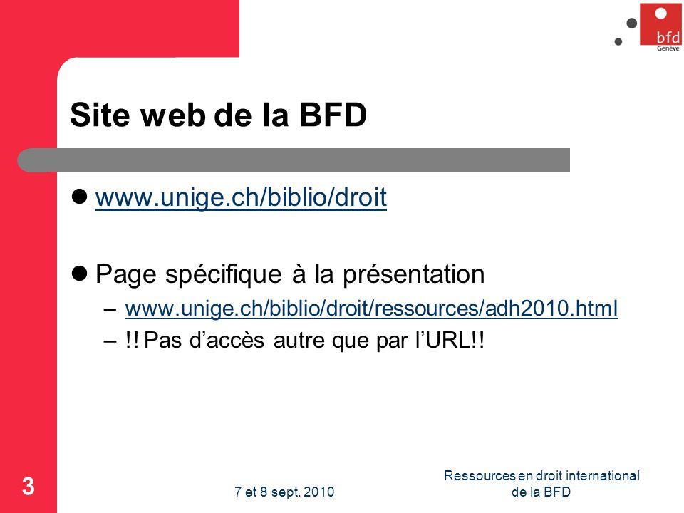 Site web de la BFD www.unige.ch/biblio/droit Page spécifique à la présentation –www.unige.ch/biblio/droit/ressources/adh2010.htmlwww.unige.ch/biblio/droit/ressources/adh2010.html –!.
