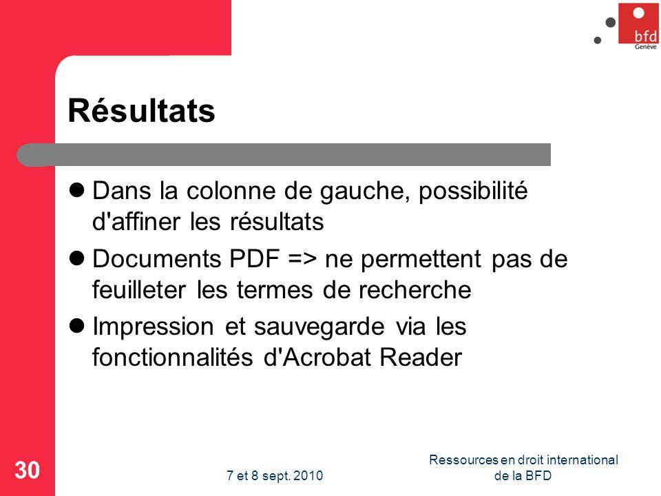 Résultats Dans la colonne de gauche, possibilité d affiner les résultats Documents PDF => ne permettent pas de feuilleter les termes de recherche Impression et sauvegarde via les fonctionnalités d Acrobat Reader 30 Ressources en droit international de la BFD7 et 8 sept.