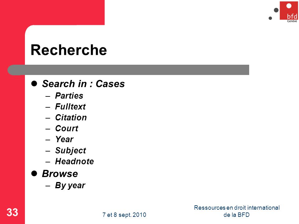 Recherche Search in : Cases –Parties –Fulltext –Citation –Court –Year –Subject –Headnote Browse –By year 33 Ressources en droit international de la BF