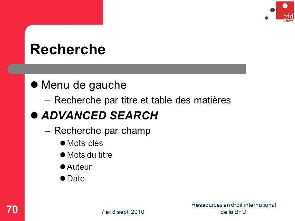 Recherche Menu de gauche –Recherche par titre et table des matières ADVANCED SEARCH –Recherche par champ Mots-clés Mots du titre Auteur Date 70 Ressources en droit international de la BFD7 et 8 sept.