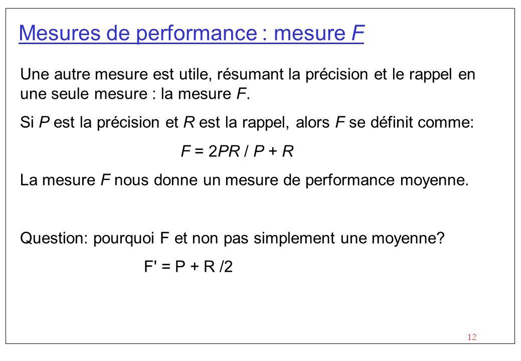 12 Mesures de performance : mesure F Une autre mesure est utile, résumant la précision et le rappel en une seule mesure : la mesure F.