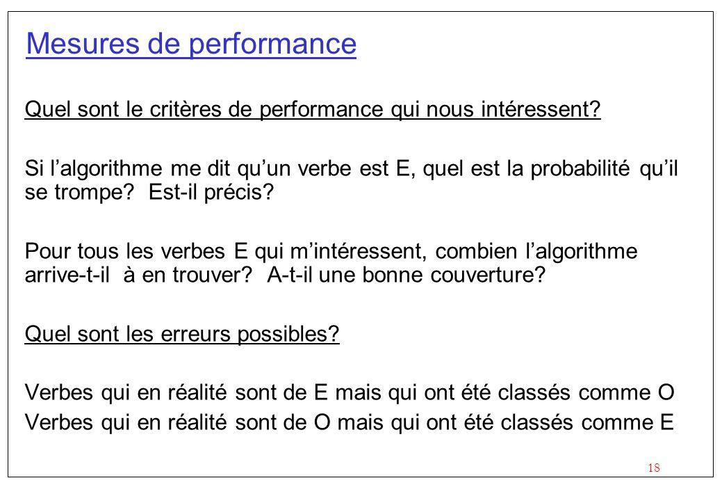 18 Mesures de performance Quel sont le critères de performance qui nous intéressent.